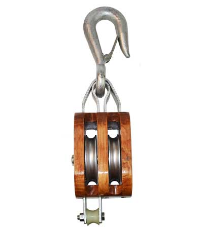 Double Sheave Wooden Block w Hook