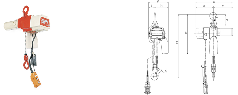 KITO EDL Dual Phase Electric Chain Hoist Dimensions