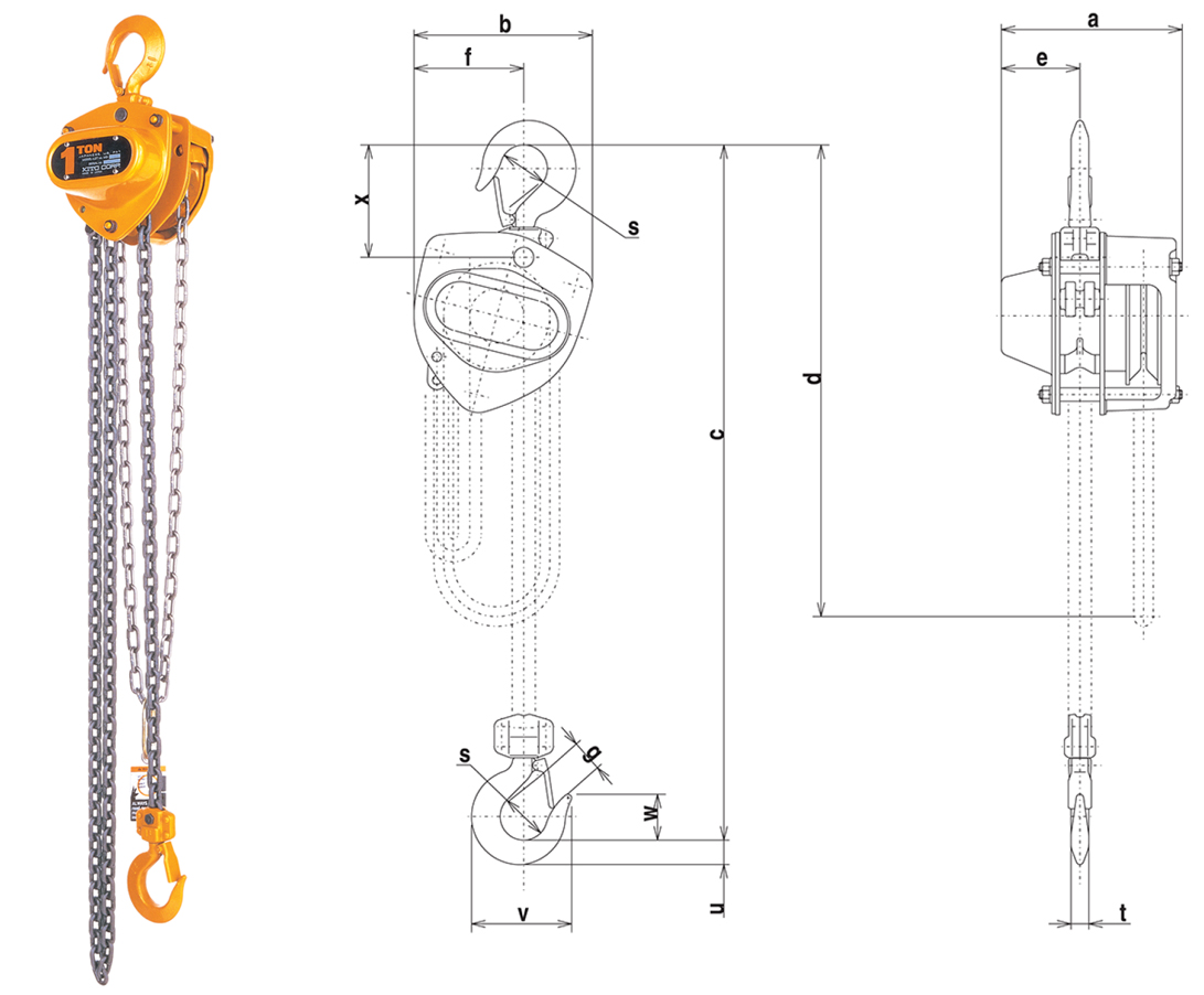 KITO M3CB Steel Body Chain Fall with Slip Clutch Dimensions