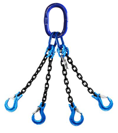 """Chain Sling 9//32/"""" x 5/' Triple Leg with Foundry Hook and Adjuster Grade 100"""