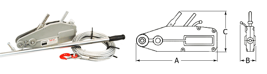 Wire Rope Winch Dimensions